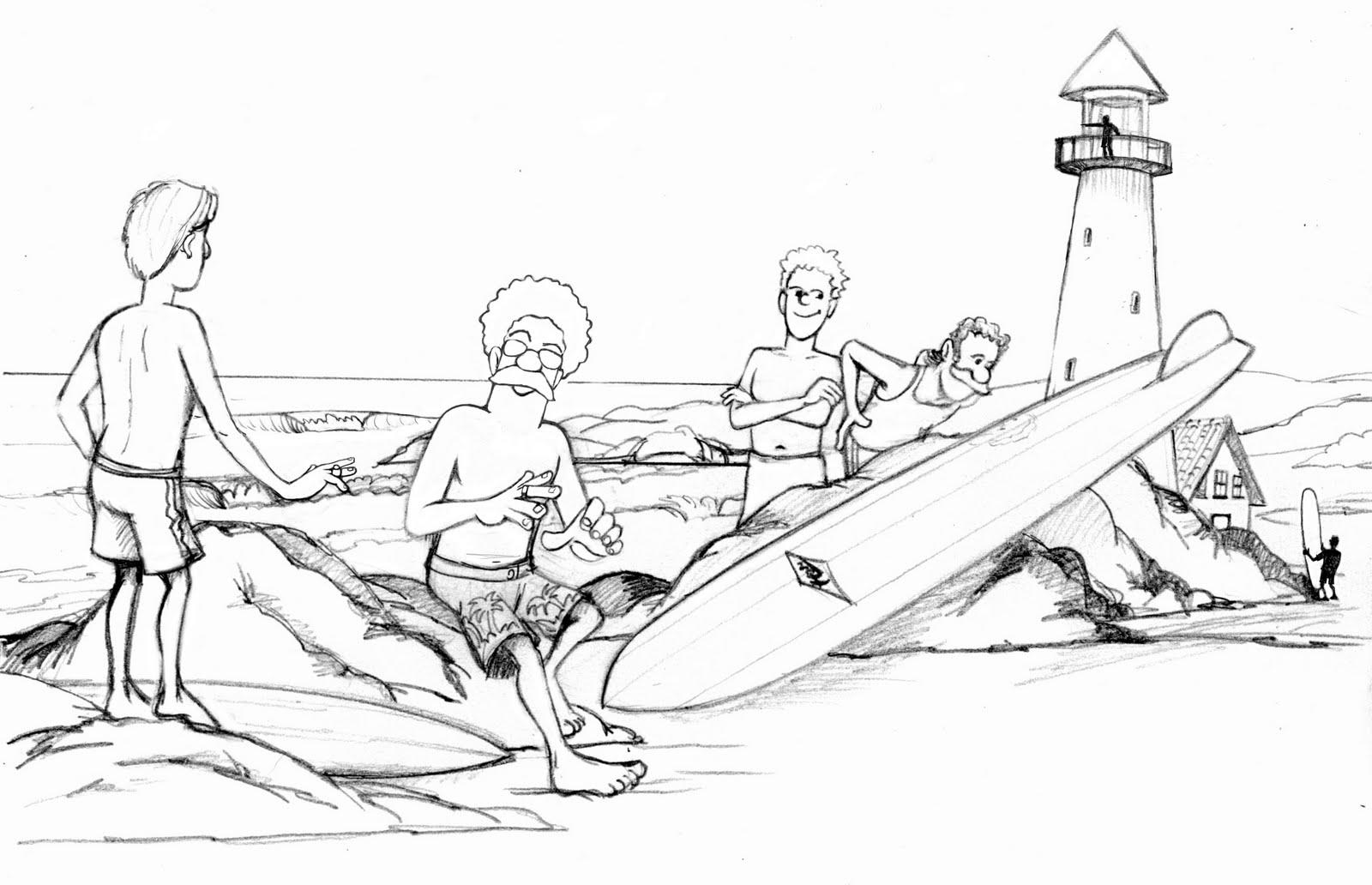 Desenhos Preto e Branco o surfista com sua prancha legal  para copiar Colorir