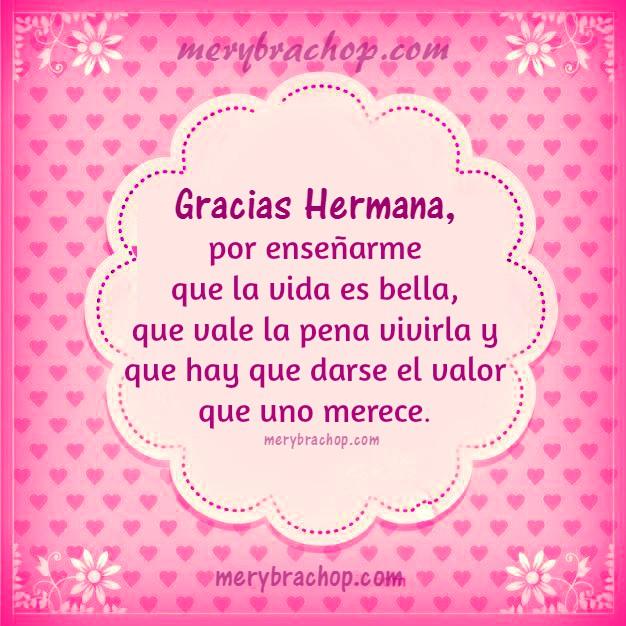 Frases de gracias Hermana, palabras de agradecimiento para hermana, imagen de gracias hermana querida por Mery Bracho.