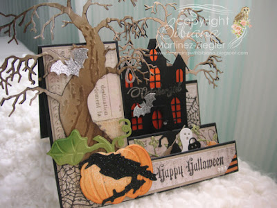 Happy halloween side step card side view