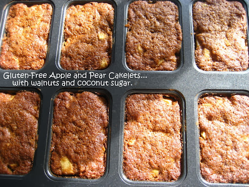Gluten-Free Apple and Pear Cakelets... with walnuts and coconut sugar.