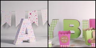Decoración para cumpleaños con letras de cartón
