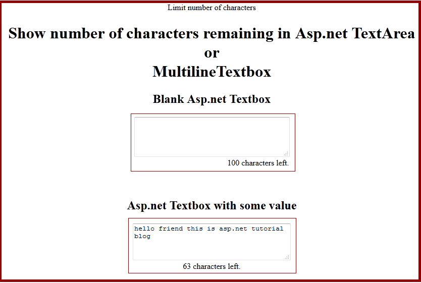 Limitation of Characters in Textbox or TextArea