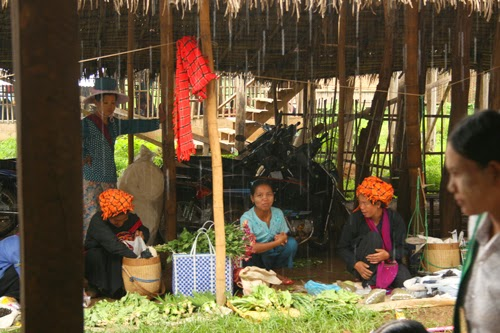 Selling vegetables at Indein market, Burma