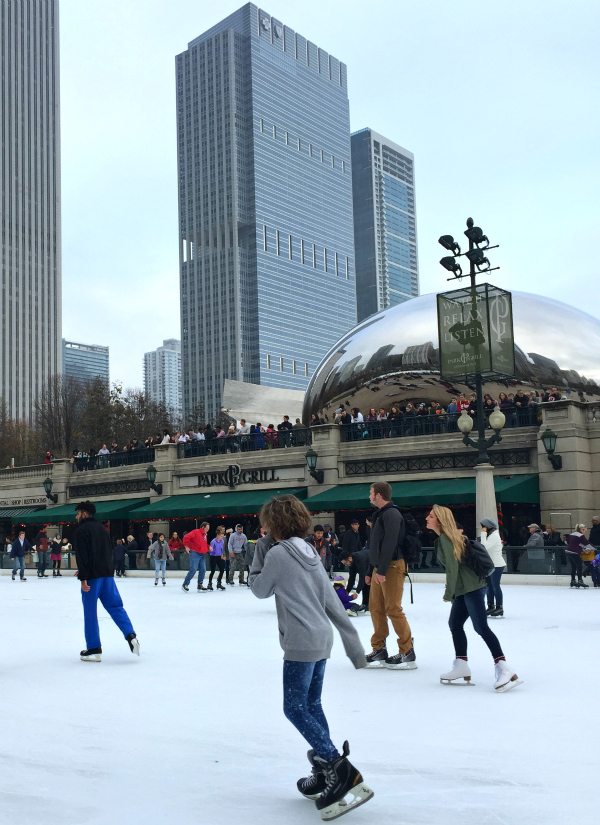 Ice skating at The Bean at Millennium Park at Christmas time.