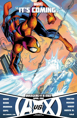 "Avengers vs X-Men ""It's Coming"" Promo Image - Spider-Man vs Iceman"