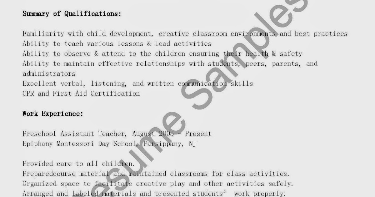 Head preschool teacher resume
