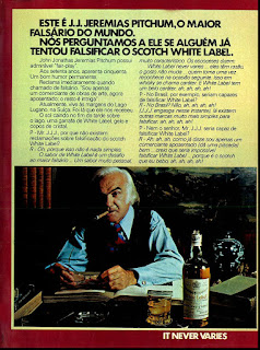 propaganda whisky Scotch White Label - 1974.os anos 70; propaganda na década de 70; Brazil in the 70s, história anos 70; Oswaldo Hernandez;