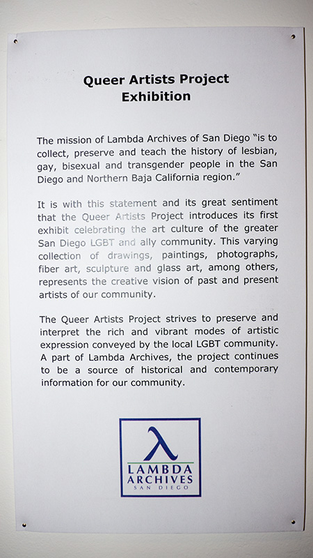 Queer Artists Project Exhibition 2013 at Lambda Archives of San Diego