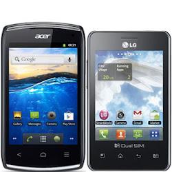 Acer z110 vs lg optimus l3 dual e405, android dual sim murah terbaru, spek dan fitur ponsel android terjangkau dua kartu