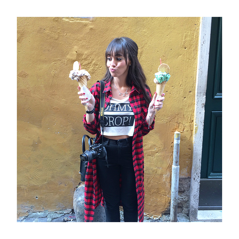 Street style, tartan shirt dress, crop top, high waisted black pants, white sneakers, rome, italy, ice cream