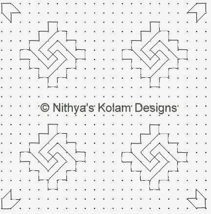 2 Kolam 105: Lines Kolam 23 to 23 dots