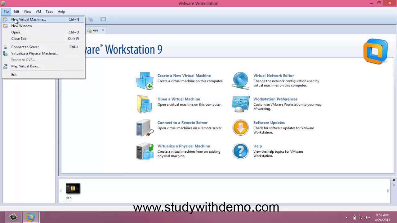 Vmware Workstation home Screen