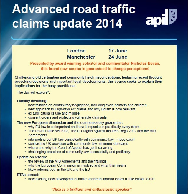 Legal training on road traffic and motor accident claims