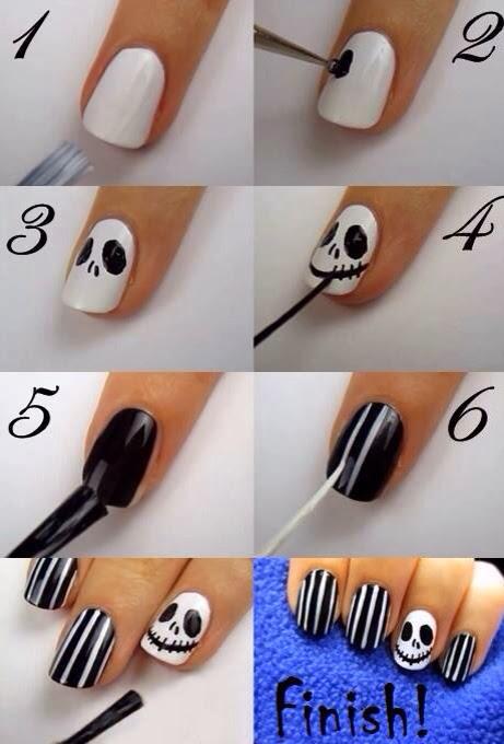 imagen de uñas en blanco y negro