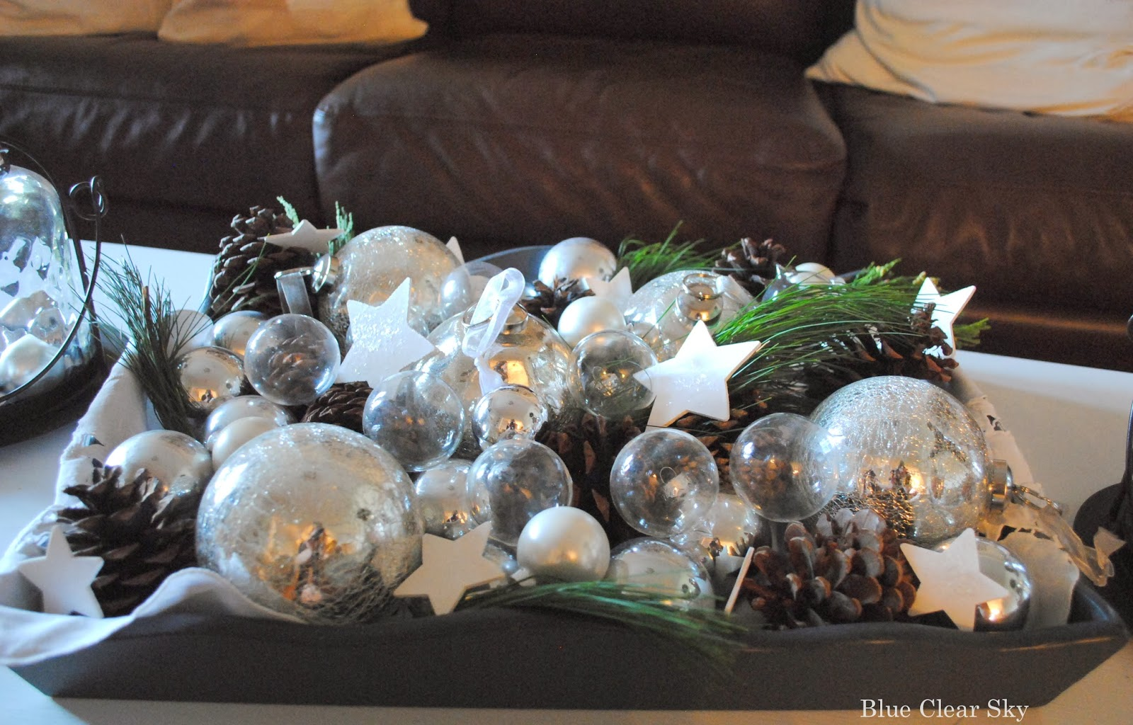 Rustic maple christmas living room coffee table vignette