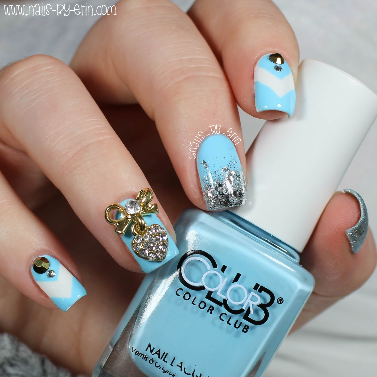 NailsByErin: Blue and Silver Bling Nails