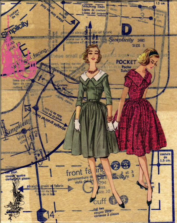 collage Vintage Sewing Patterns For Sale