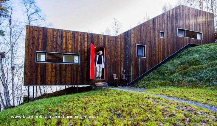 Perfil de la cabaña noruega de madera en declive