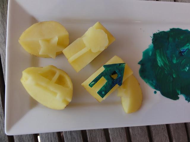 Home-made potatoe stamps