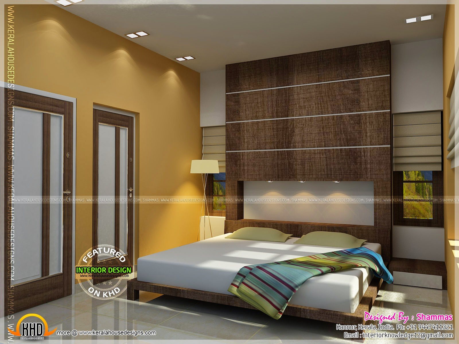 Modern house elevation with interior renderings kerala home design and floor plans Master bedroom size in india
