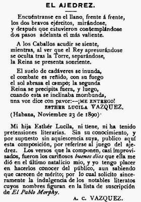 Poema El Ajedrez de Esther Lucila Vázquez en 1890