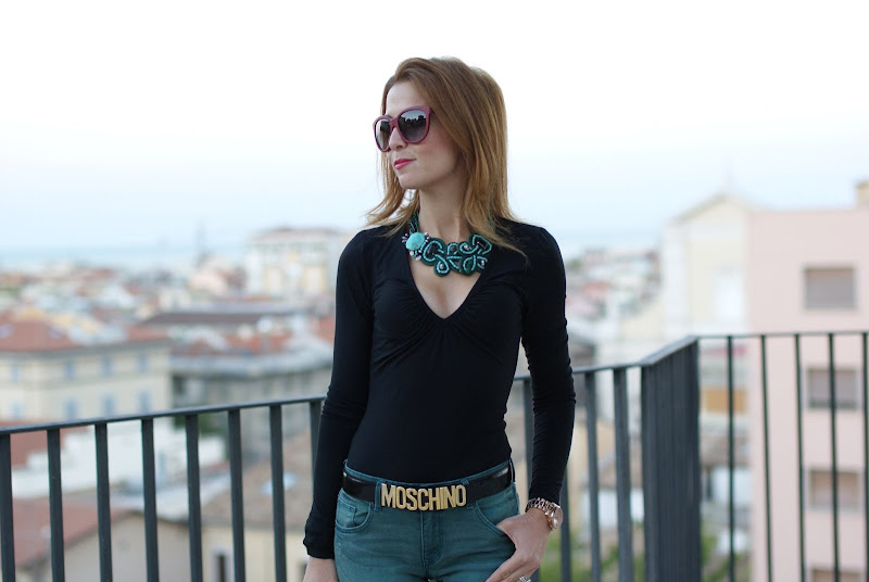 green h&m pants, wedge shoes