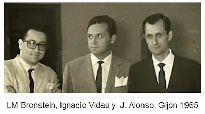 Luis M. Bronstein, Ignacio vidau y José Ramón Alonso en el Torneo Internacional de Gijón de 1965