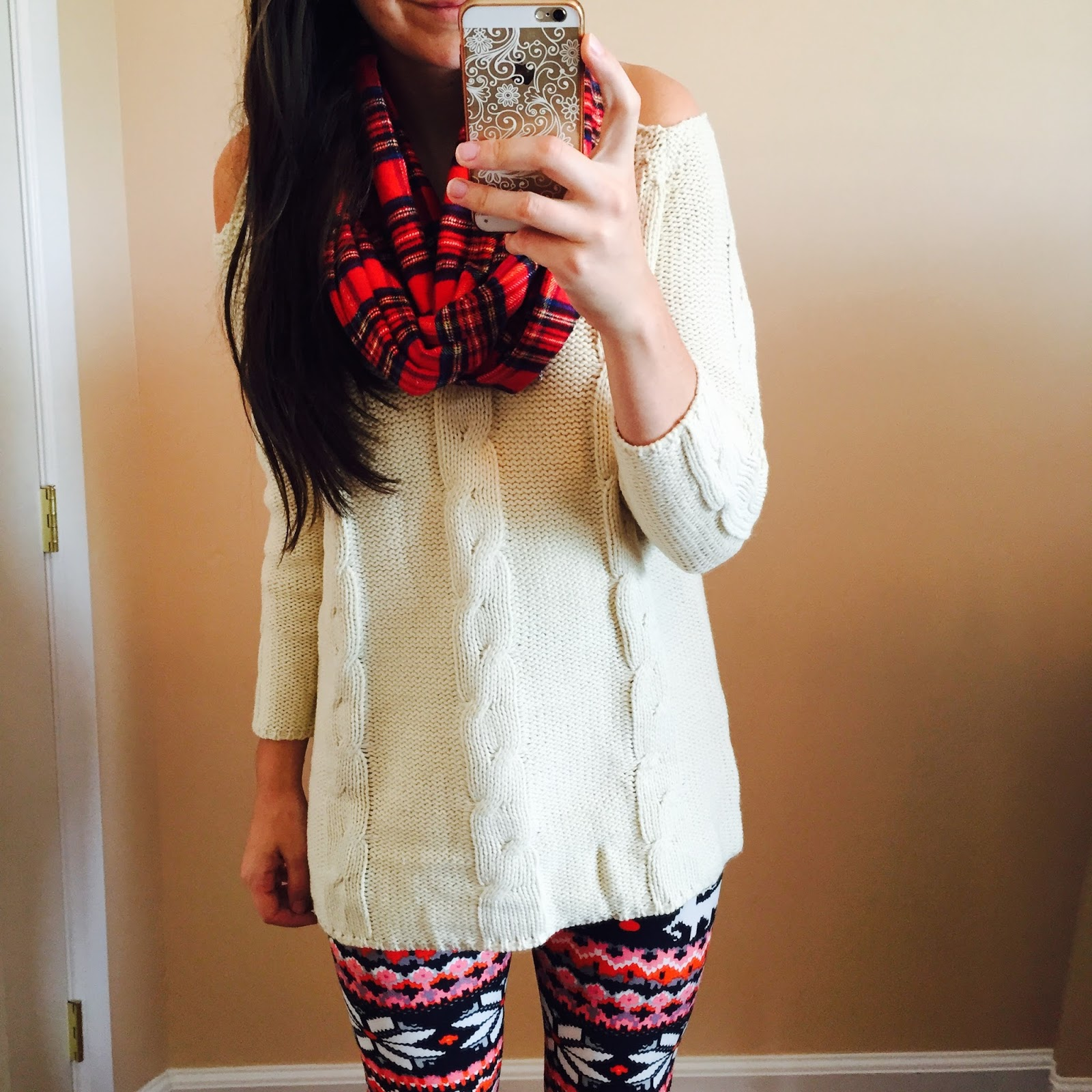 How to style a Ivory Sweater, red plaid scarf, red infinity scarf, plaid infinity scarf, red plaid scarf, printed leggings, our world boutique leggings, fleece leggings, aztec leggings, christmas leggings,  ivory shoulder cut out sweater, lookbook store, how to style a ivory sweater, how to style a sweater, teen fashion, teen fashion outfits, how to style for teenagers, teen outfits,