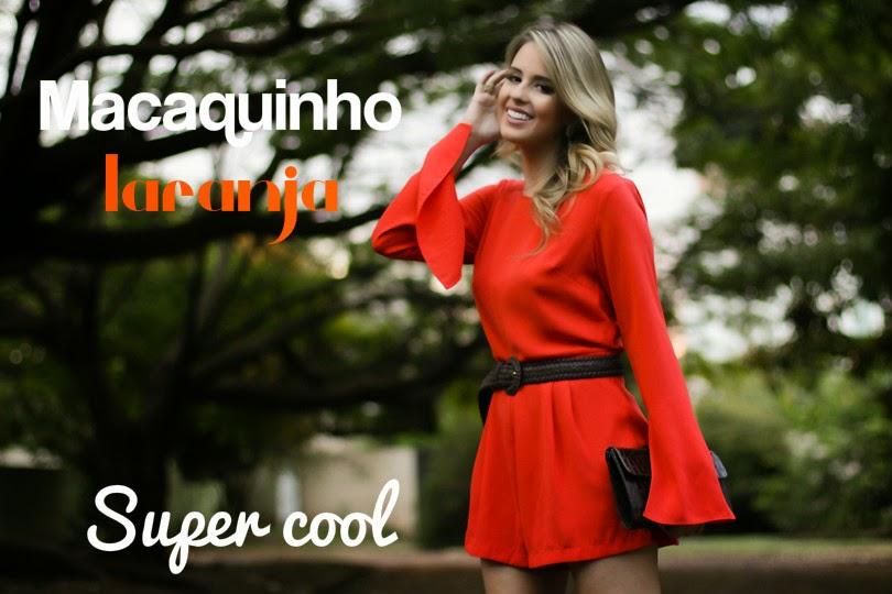 roupas femininas, moda feminina, macacão curto laranja, macaquinho laranja