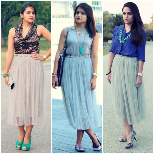 Three Ways To Wear Tulle Skirt, Tanvii.com