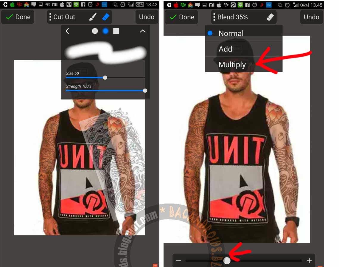 Efek tato dengan Picsay di Android