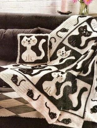 Plaid con diseño de gatos en blanco y negro