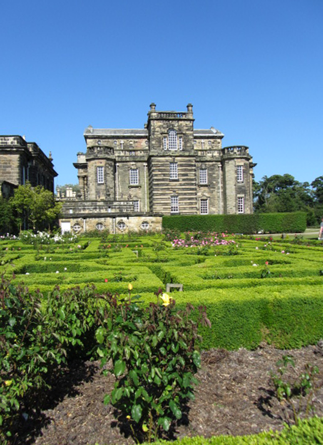 Classical old building, Seaton Delaval Hall, Rose garden, parterre