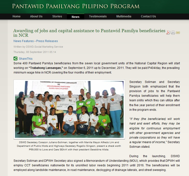 the delisted beneficiaries of pantawid pamilyang pilipino program essay Pantawid pamilyang pilipino program beneficiary see conditional cash transfer photo essay i participated in the south-south learning on conditional cash transfers workshop held at adb headquarters, 16-19 april 2013 that was organized in cooperation with inter-american development bank.