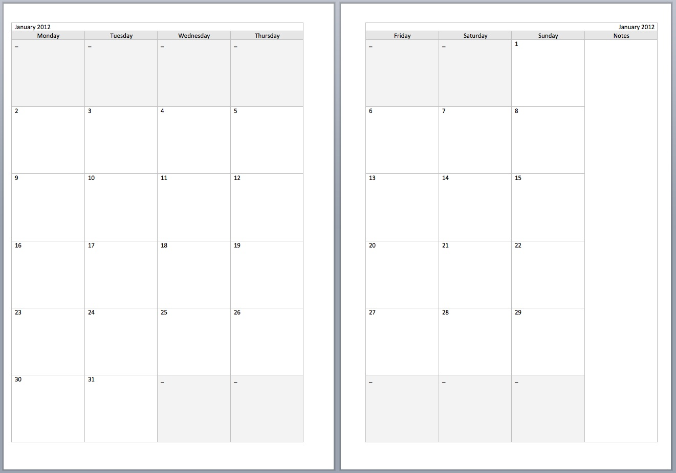 Philofaxy: Download source files for the new Monthly diary layouts