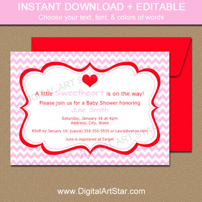 printable valentine baby shower invitation template with pink chevron