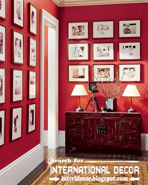 color combinations with red color in the interior, red wall with frames