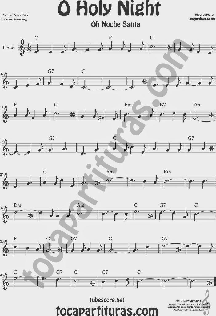 O Holy Night Partitura de Oboe Sheet Music for Oboe Music Score Oh Noche Santa