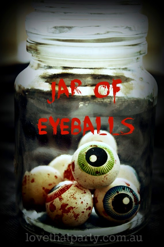 jar of eyeballs, gumballs, party favour, favor, Halloween