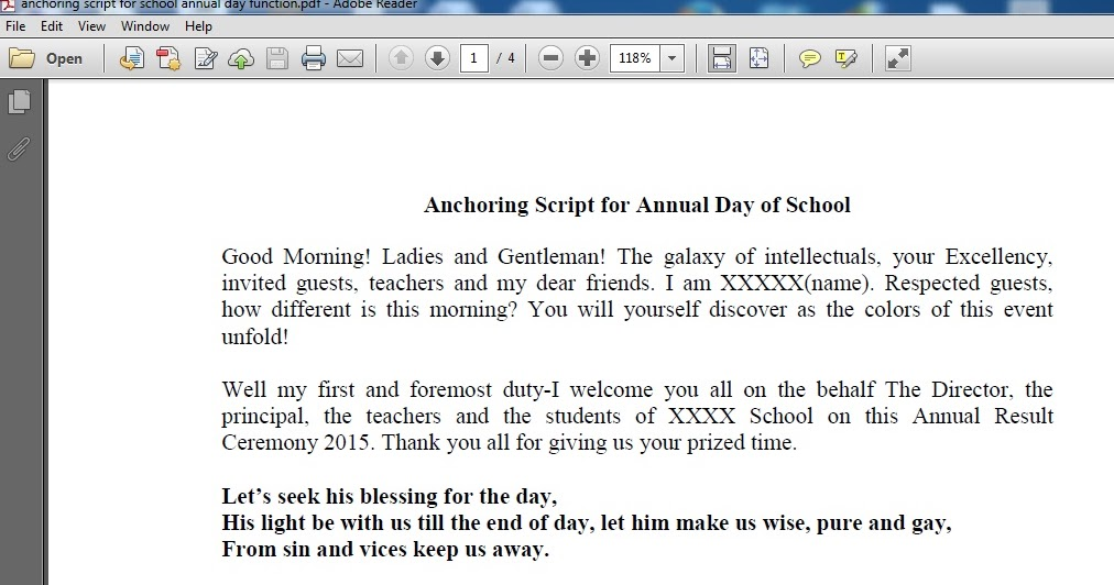 anchoring annual day This is a season of the year school/college students eagerly wait because it's time for celebration and fun you will have annual sports, games, cultural events, tech fest in your school or.