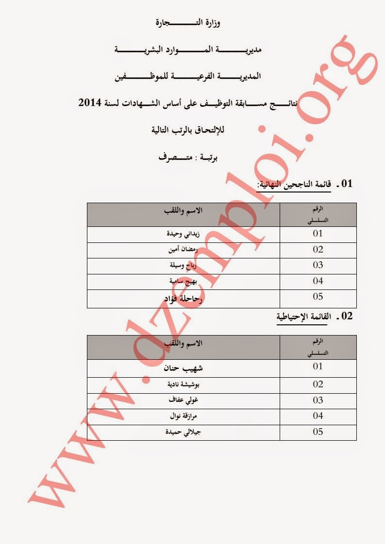 إعلان نتائج مسابقة توظيف بوزارة التجارة لسنة 2014 1.jpg