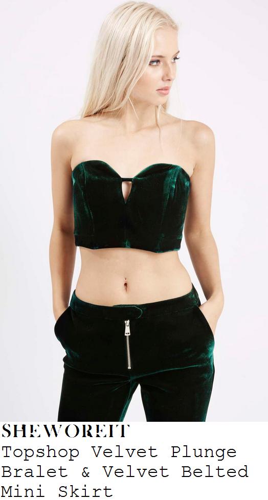 louisa-johnson-green-velvet-bralet-and-belted-mini-skirt