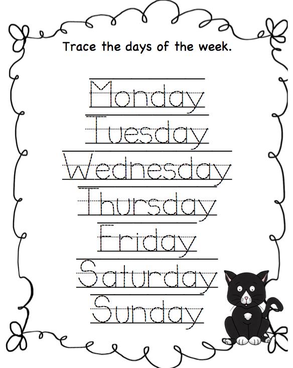 ... The Week Worksheets Printable on tracing days of the week worksheets