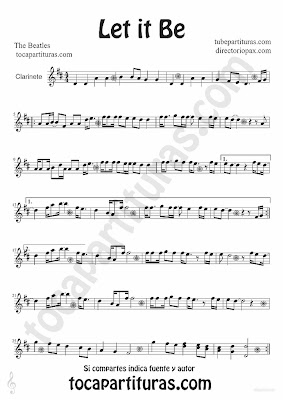 Tubescore Let it Be by The Beatles sheet music for clarinet Pop - Rock Music Score