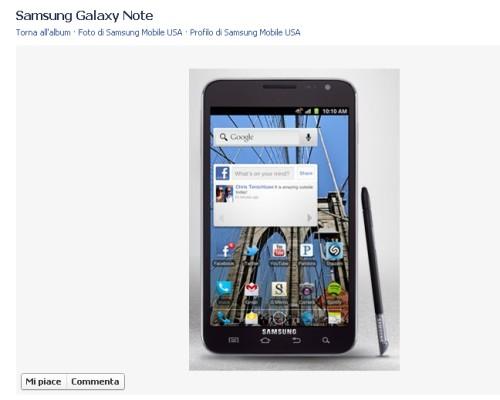 Anteprima di ICS su Samsung Galaxy note su Facebook