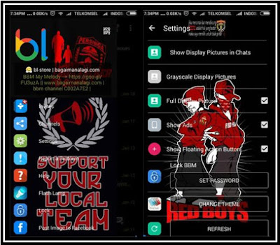 BBM MOD Tema Red Boys Persinga Fitur Change Theme and Change Toolbar V.2.11.0.18