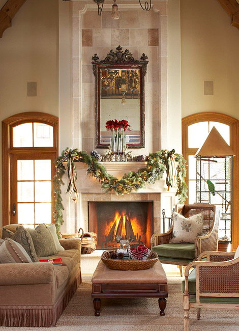 The pink elephant christmas mantel for Images of fireplace mantels decorated for christmas