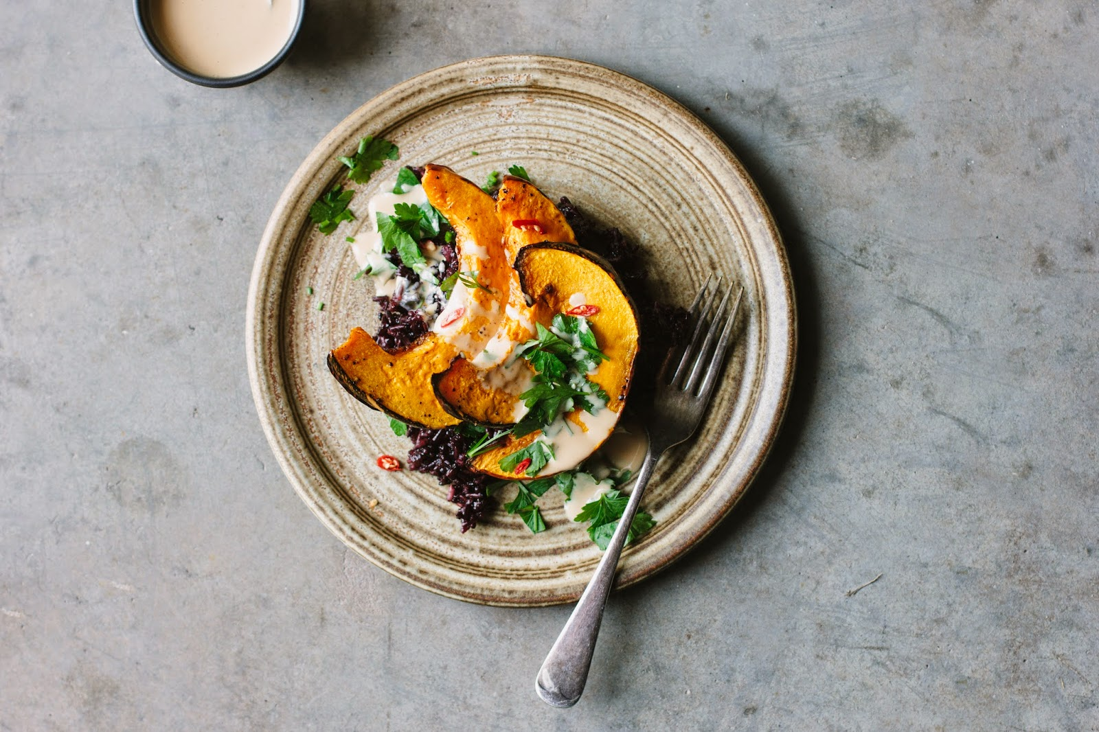 Sarah B's roasted pumpkin with black rice and tangerine tahini sauce recipe