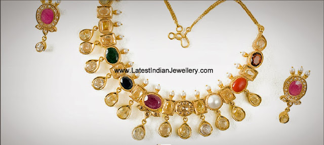 Polki Diamond Navaratna Necklace