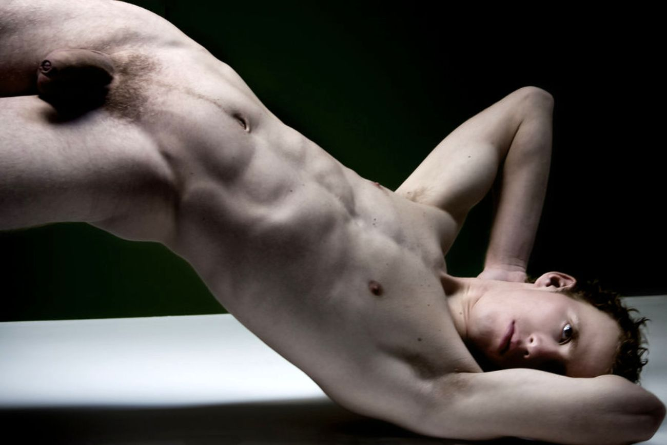 naked dude upside down